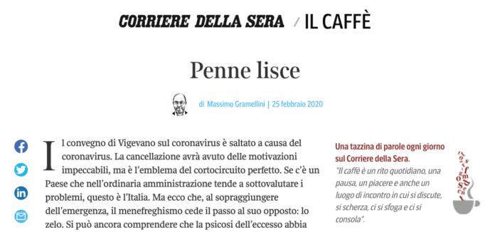 coronavirus convegno annullato Caffè Gramellini