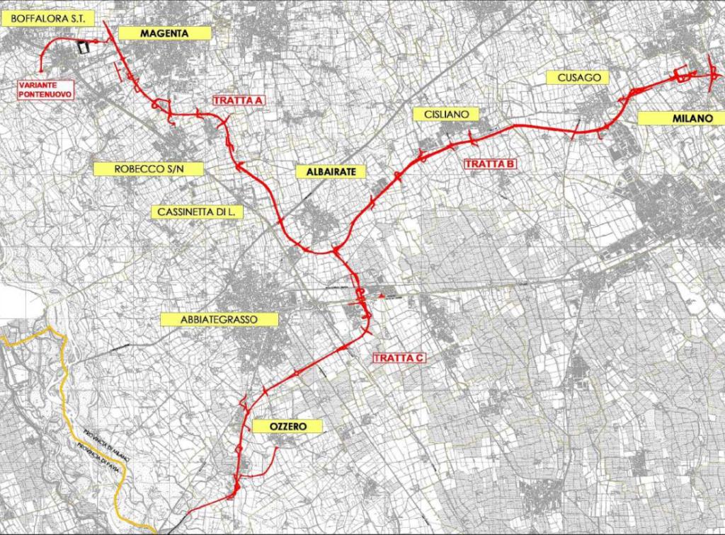 Superstrada Vigevano-Magenta le tre tratte
